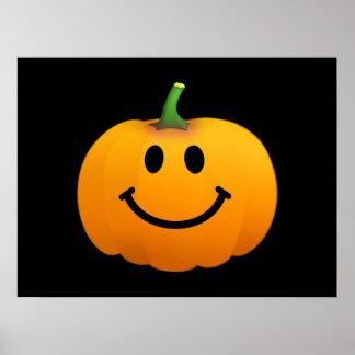 Cara del smiley de la calabaza de Halloween Póster