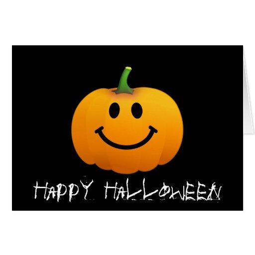 Cara del smiley de la calabaza de Halloween Tarjetas