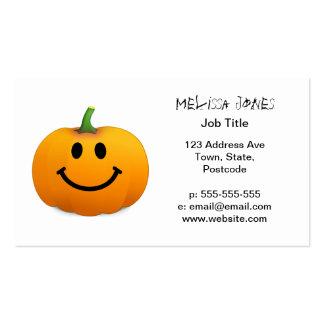 Cara del smiley de la calabaza de Halloween Tarjetas De Visita