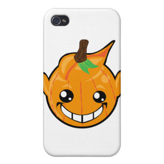 cara del smiley de la calabaza iPhone 4 carcasas