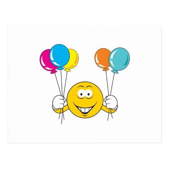Cara del smiley de la celebración de los globos postal