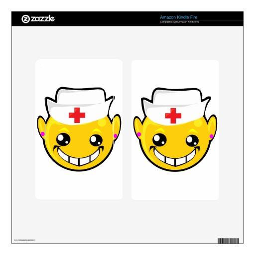 cara del smiley de la enfermera pegatinas skins para kindle fire