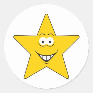 Cara del smiley de la estrella etiqueta redonda