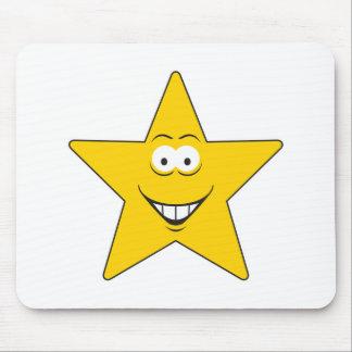 Cara del smiley de la estrella alfombrillas de raton