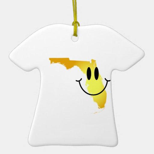 Cara del smiley de la Florida Adorno Navideño De Cerámica En Forma De Playera