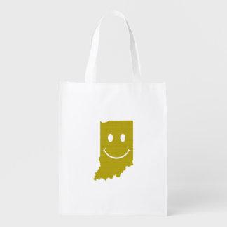 Cara del smiley de la forma del estado de Indiana Bolsas Para La Compra