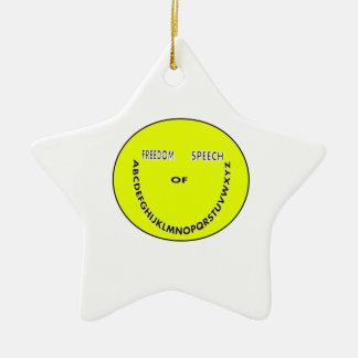 Cara del smiley de la libertad de expresión adorno navideño de cerámica en forma de estrella