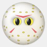 Cara del smiley de la máscara del hockey pegatinas redondas