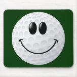 Cara del smiley de la pelota de golf alfombrilla de ratones