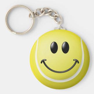 Cara del smiley de la pelota de tenis llaveros