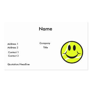cara del smiley de la pelota de tenis tarjetas de visita