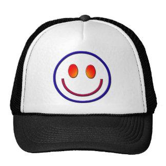 Cara del smiley de la pendiente del arco iris gorros