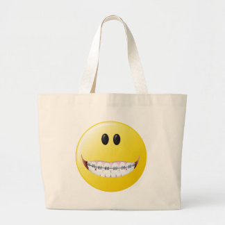 Cara del smiley de los apoyos bolsa tela grande