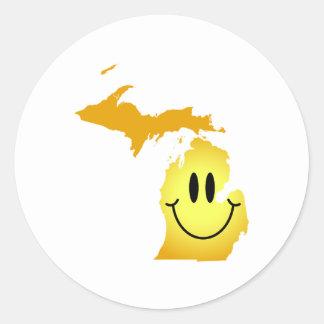 Cara del smiley de Michigan Etiqueta Redonda