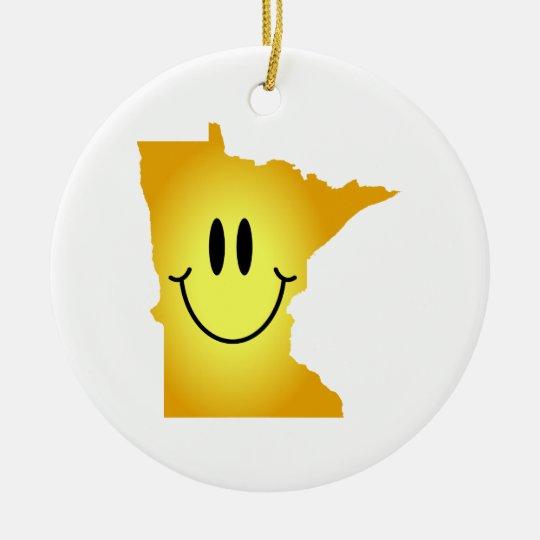 Cara del smiley de Minnesota Adorno Navideño Redondo De Cerámica