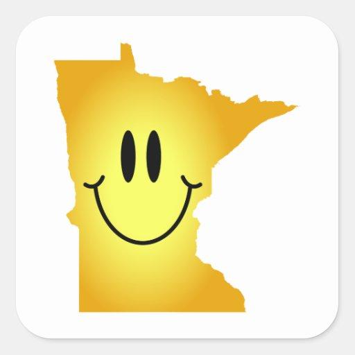 Cara del smiley de Minnesota Pegatina Cuadrada
