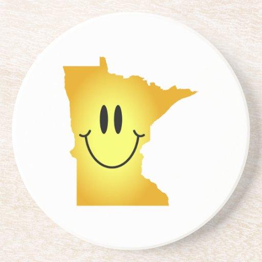 Cara del smiley de Minnesota Posavaso Para Bebida