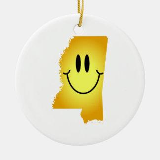 Cara del smiley de Mississippi Ornamentos De Navidad