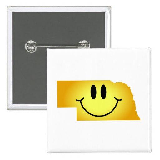 Cara del smiley de Nebraska Pin Cuadrada 5 Cm