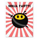 Cara del smiley de Ninja Invitación 10,8 X 13,9 Cm