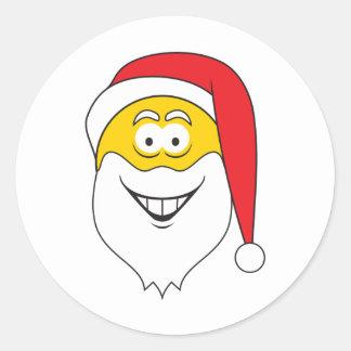 Cara del smiley de Papá Noel Etiquetas Redondas