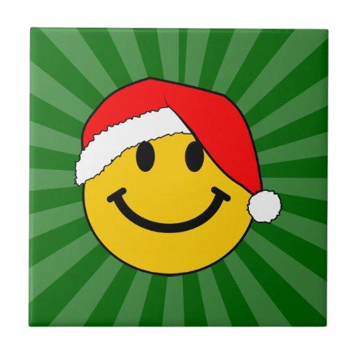 Cara del smiley de Santa del navidad Azulejo Cuadrado Pequeño