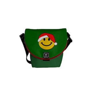 Cara del smiley de Santa del navidad Bolsa Messenger