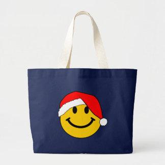 Cara del smiley de Santa del navidad Bolsa Tela Grande