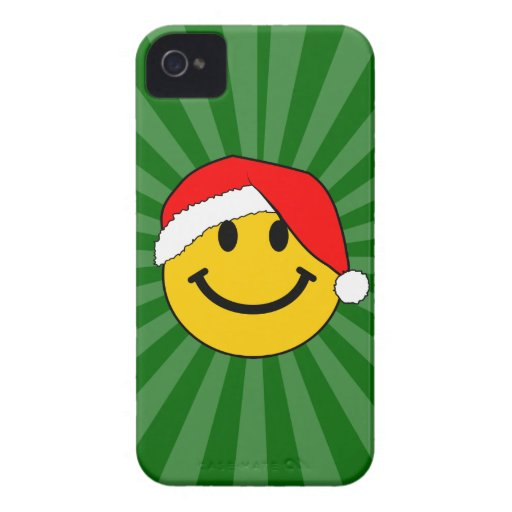 Cara del smiley de Santa del navidad Case-Mate iPhone 4 Carcasas