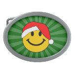 Cara del smiley de Santa del navidad Hebilla De Cinturón Oval