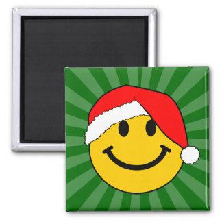 Cara del smiley de Santa del navidad Imán Cuadrado
