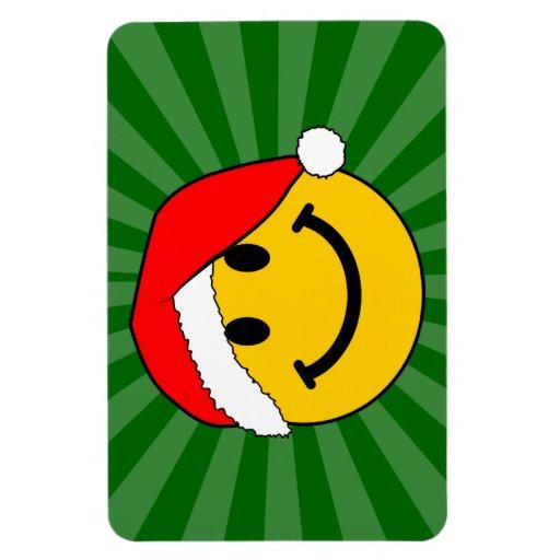 Cara del smiley de Santa del navidad Imán De Vinilo