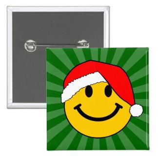 Cara del smiley de Santa del navidad Pin Cuadrada 5 Cm