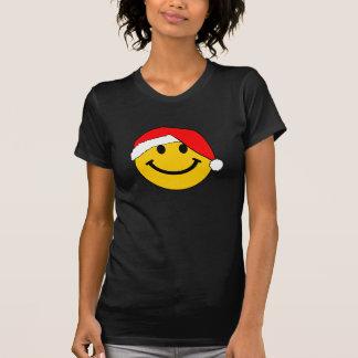 Cara del smiley de Santa del navidad Playera