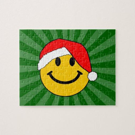 Cara del smiley de Santa del navidad Puzzles Con Fotos
