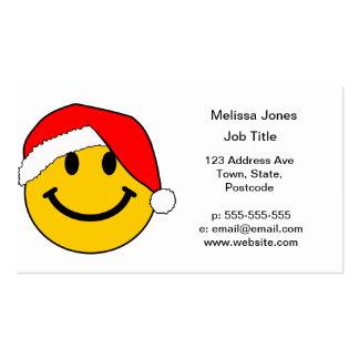 Cara del smiley de Santa del navidad Tarjetas De Visita