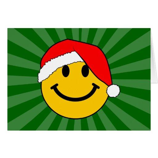 Cara del smiley de Santa del navidad Tarjeta De Felicitación