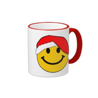 Cara del smiley de Santa del navidad Tazas De Café
