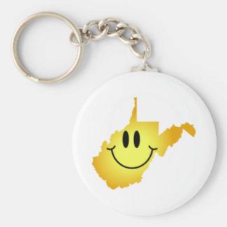 Cara del smiley de Virginia Occidental Llavero Redondo Tipo Pin