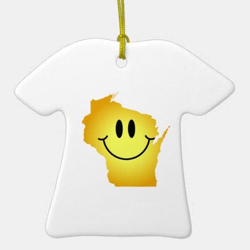 Cara del smiley de Wisconsin Adorno Navideño De Cerámica En Forma De Playera