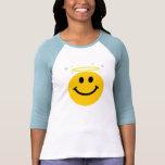Cara del smiley del ángel camisetas