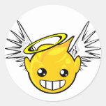 cara del smiley del ángel pegatina redonda