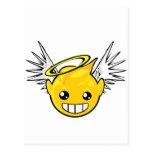 cara del smiley del ángel tarjetas postales