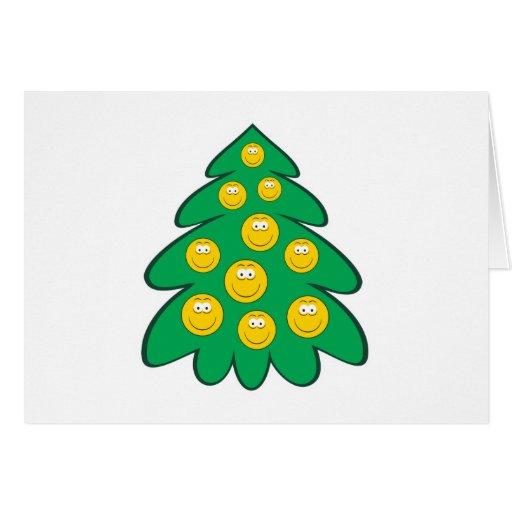 Cara del smiley del árbol de navidad felicitaciones