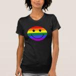 Cara del smiley del arco iris camiseta