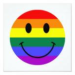 Cara del smiley del arco iris invitación 13,3 cm x 13,3cm