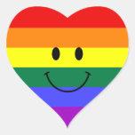 Cara del smiley del arco iris pegatina corazón personalizadas