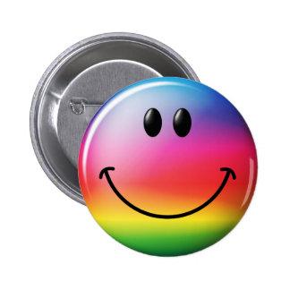 Cara del smiley del arco iris pin redondo de 2 pulgadas