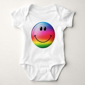 Cara del smiley del arco iris playera