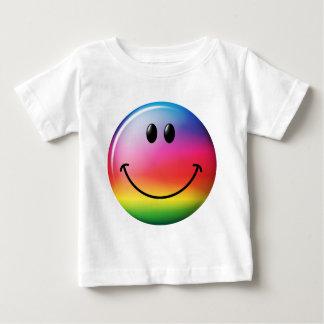 Cara del smiley del arco iris playeras